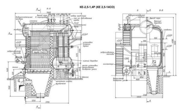 Паровой котел серии КЕ, работающий на твердом топливе