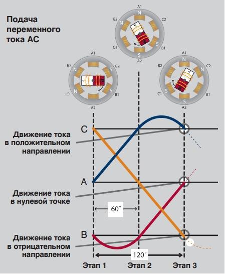 Вращение ротора в сторону вращения магнитного поля